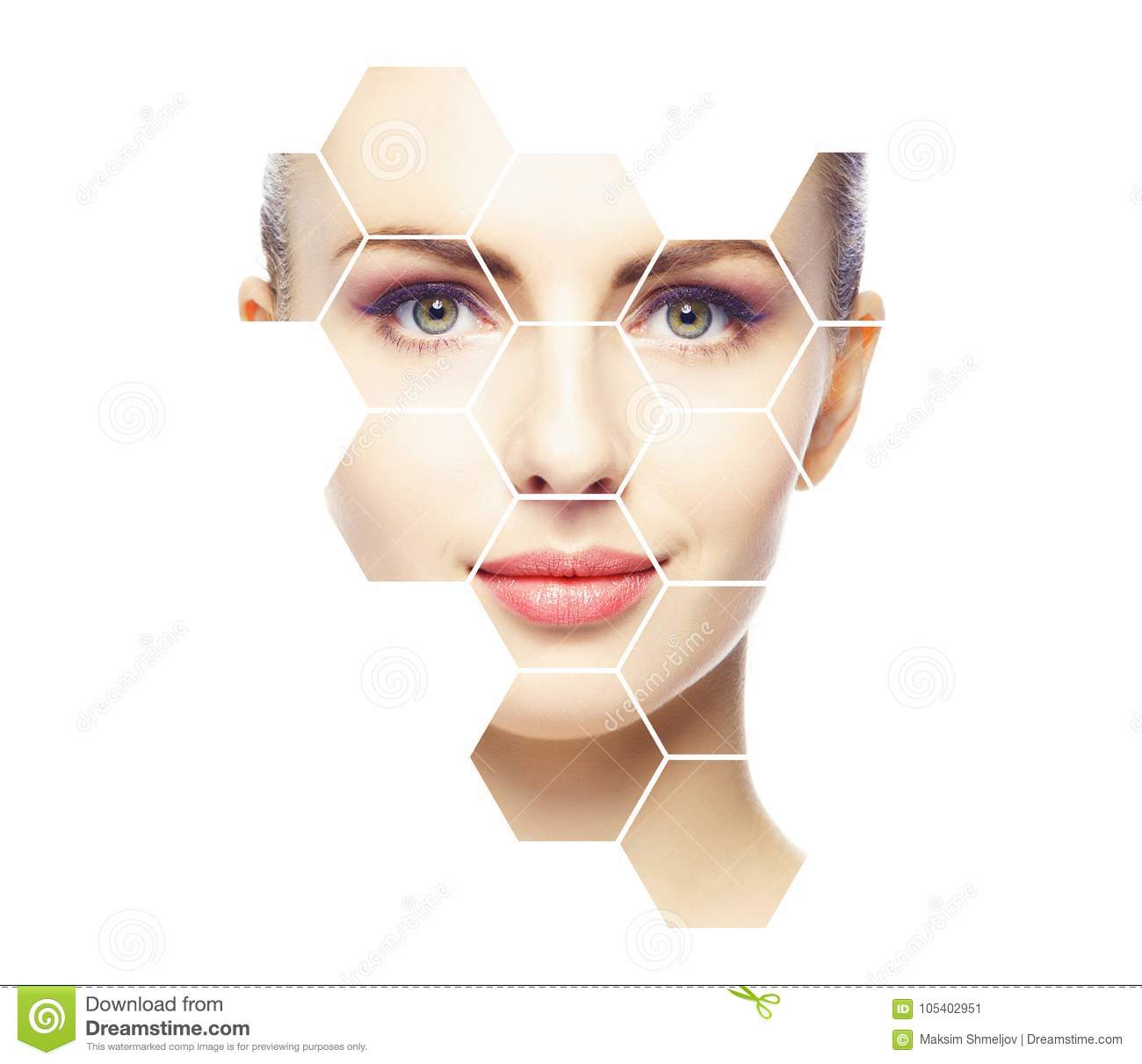 Beautiful face of young and healthy girl. Plastic surgery, skin care, cosmetics and face lifting concept.