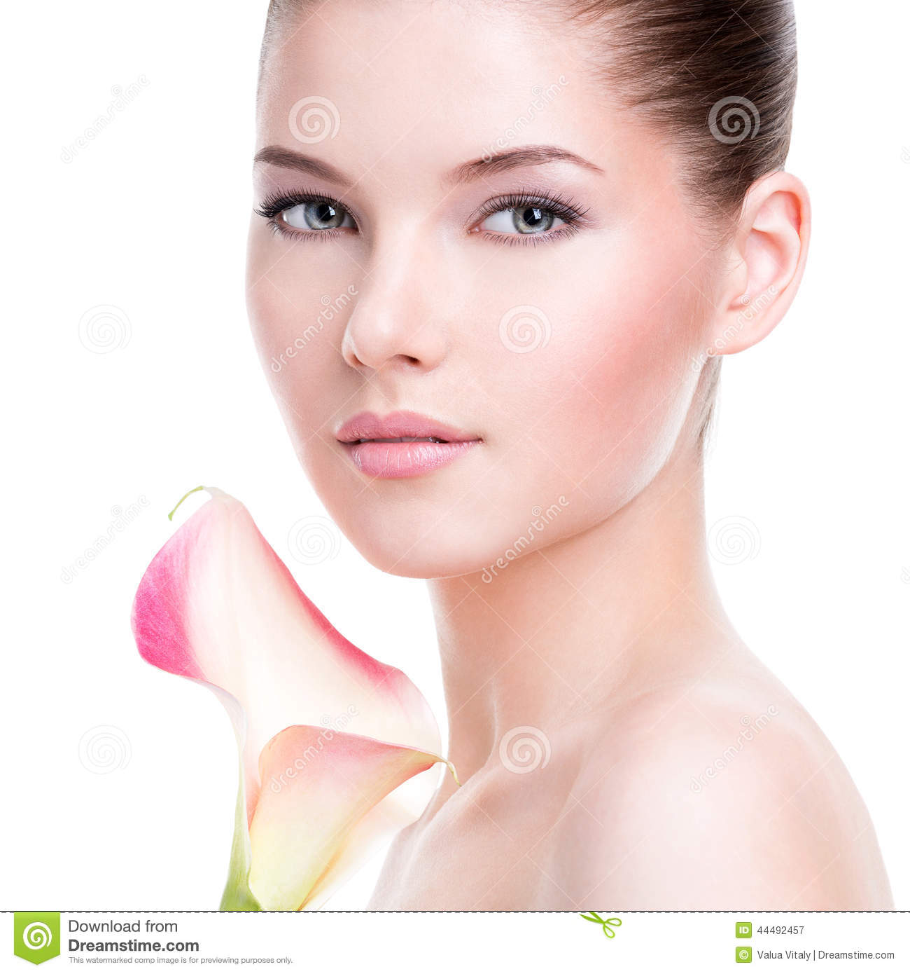 Healthy Skin Care: Beautiful Face Of Young Pretty Woman With Healthy Skin
