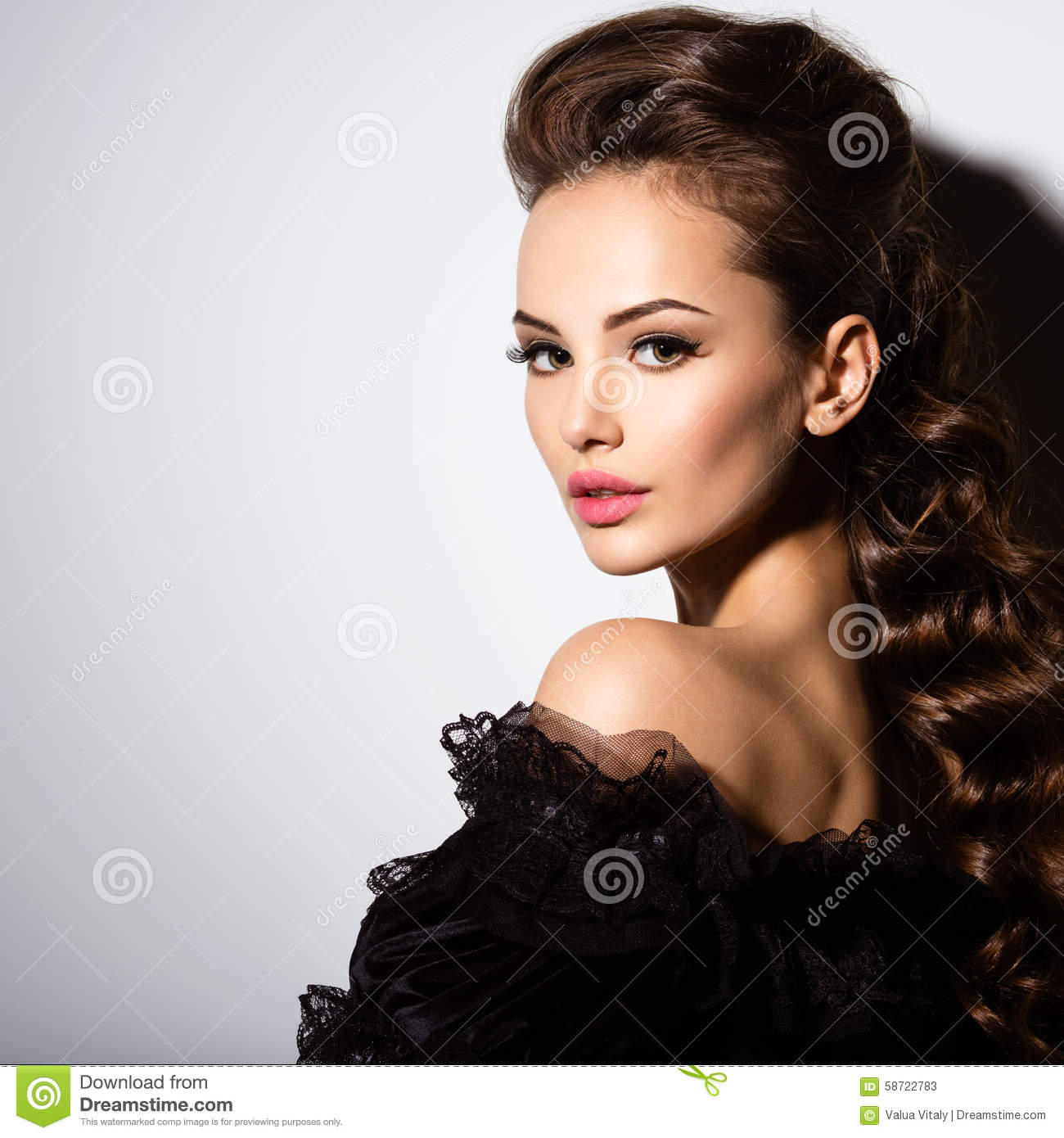 4d0d4f706 Beautiful Face Of An Young Woman In Black Dress Stock Image - Image ...