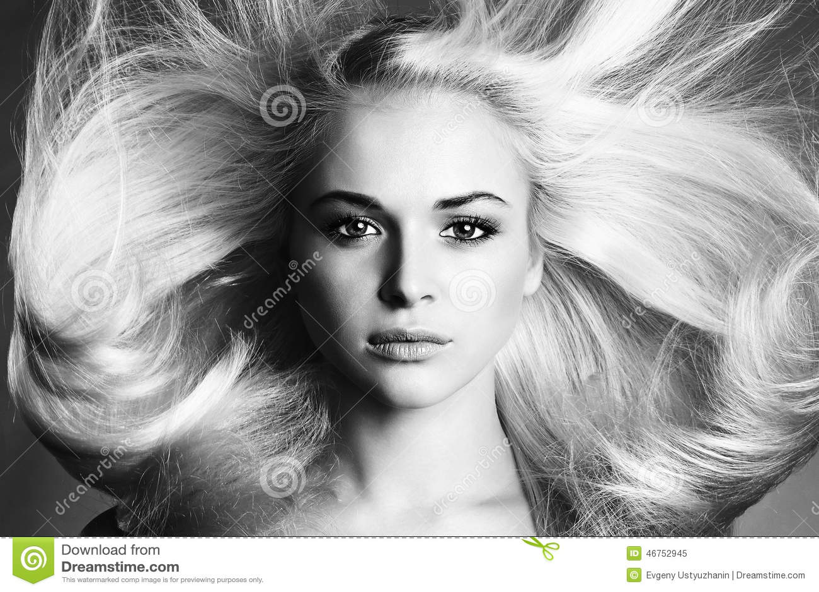 Beautiful Face of Young Woman. Blond girl. monochrome portrait. Beautiful healthy hair. Beauty salon