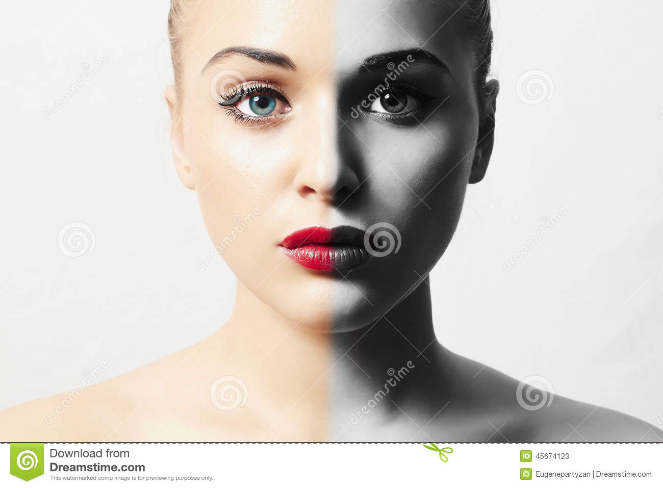 Beautiful Face of Young Woman. Blond girl. Pure Beauty Model. monochrome portrait