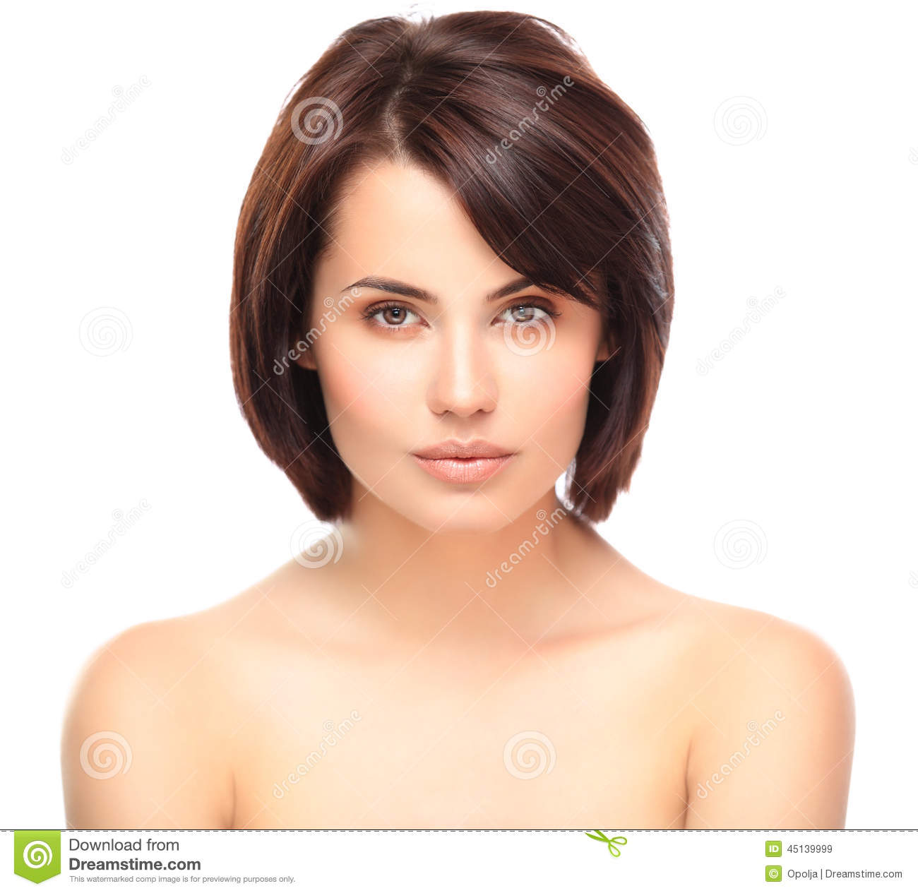 Beautiful Face Of Young Woman With Clean Fresh Skin Stock ...