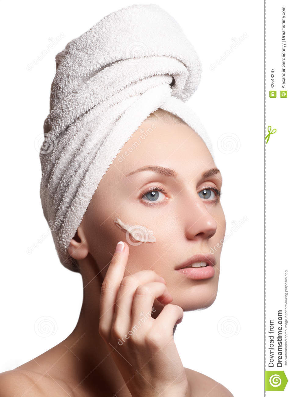 Beautiful Face Of Young Woman With Cosmetic Cream On A ...