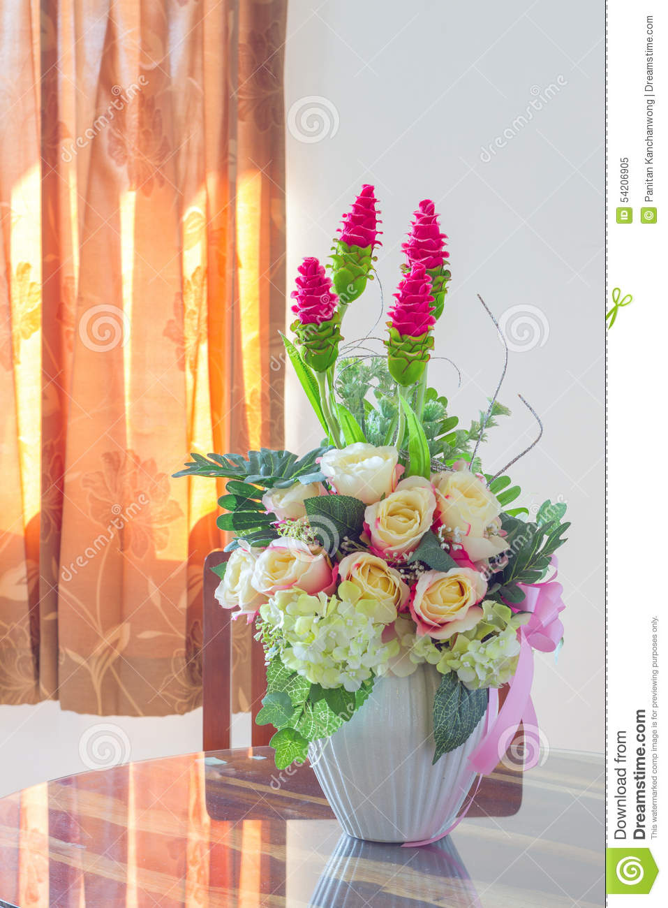 Beautiful fake flowers in white pot stock image image of beautiful fake flowers in white pot izmirmasajfo Choice Image