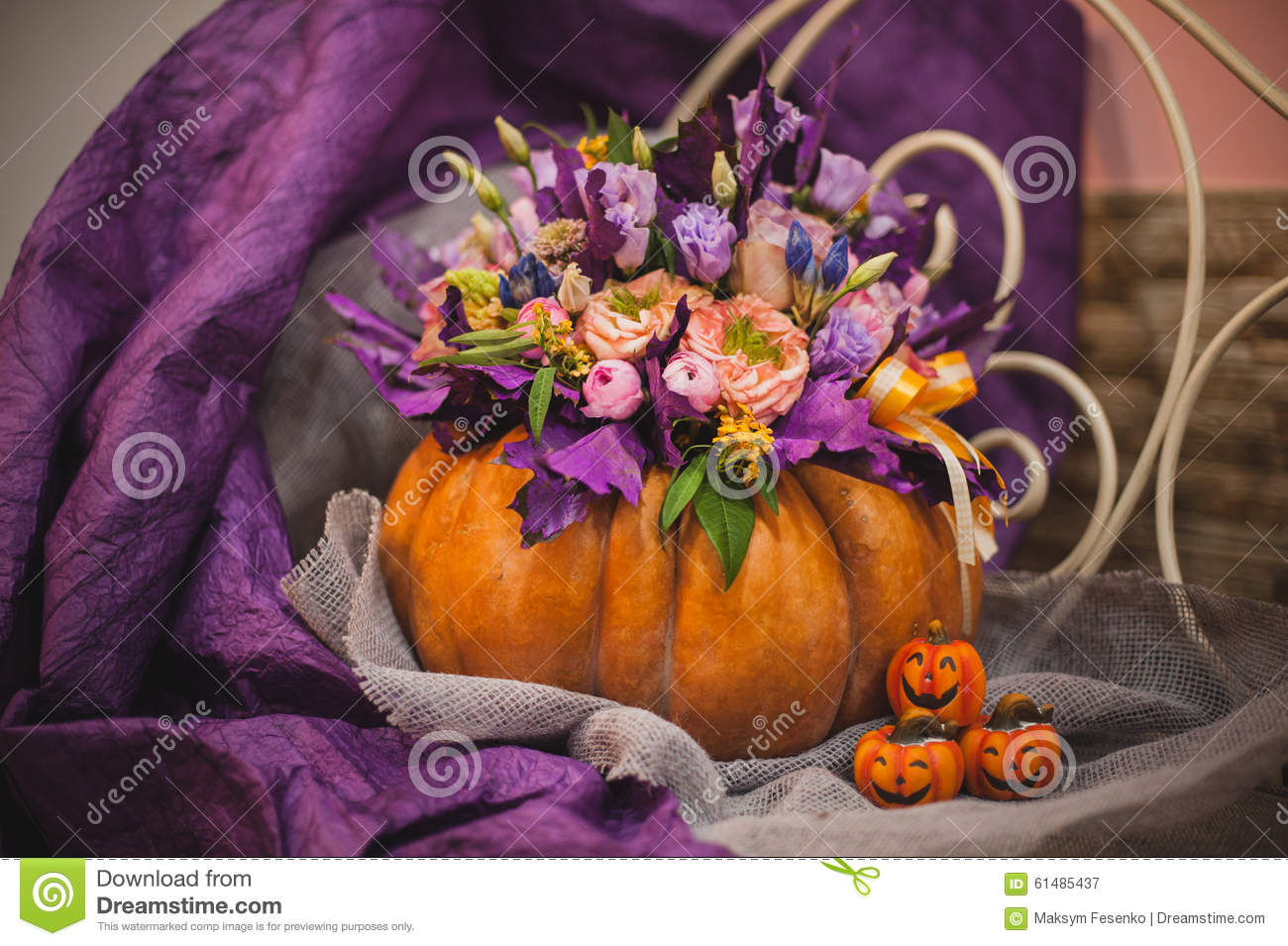 Beautiful Fall Bouquet In Vase From Pumpkin Stock Photo