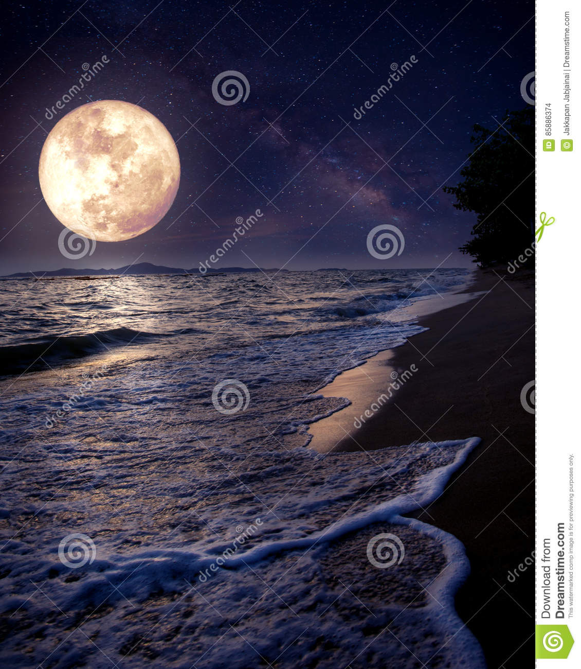 Download Beautiful Fantasy Tropical Beach With Milky Way Star In Night Skies Full Moon Stock