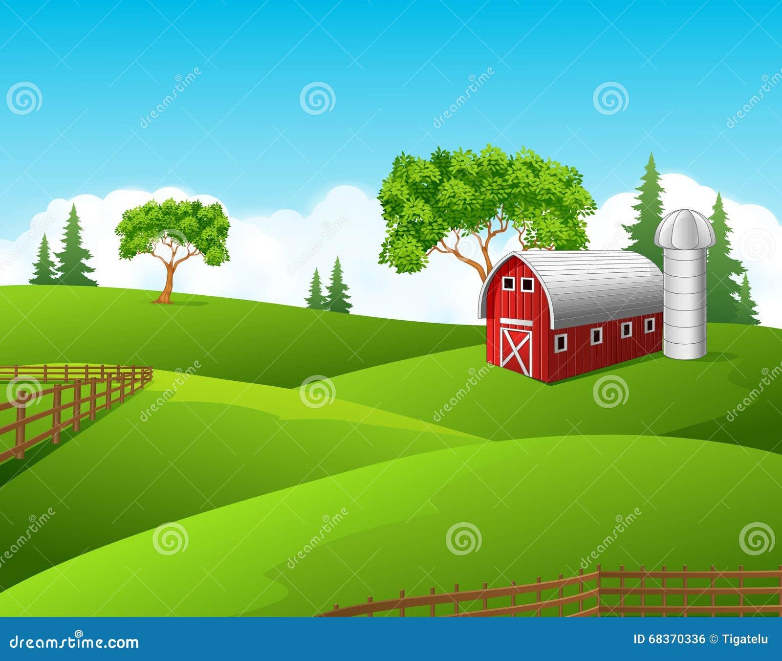 Beautiful Farm Landscape Background