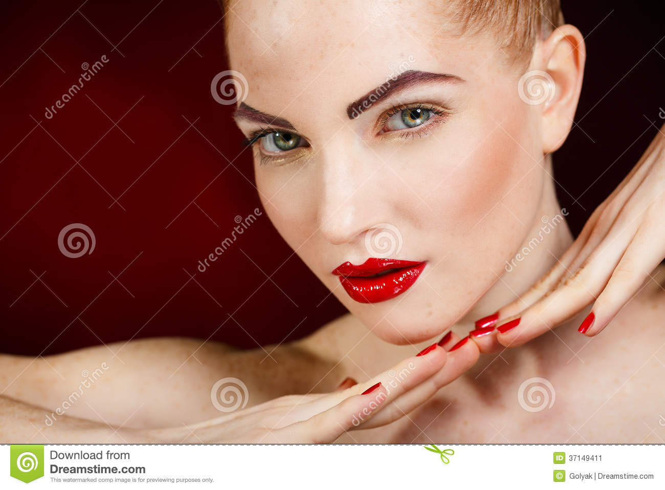 Beauty makeup fashion model on mirror reflection stock for Polished nail salon