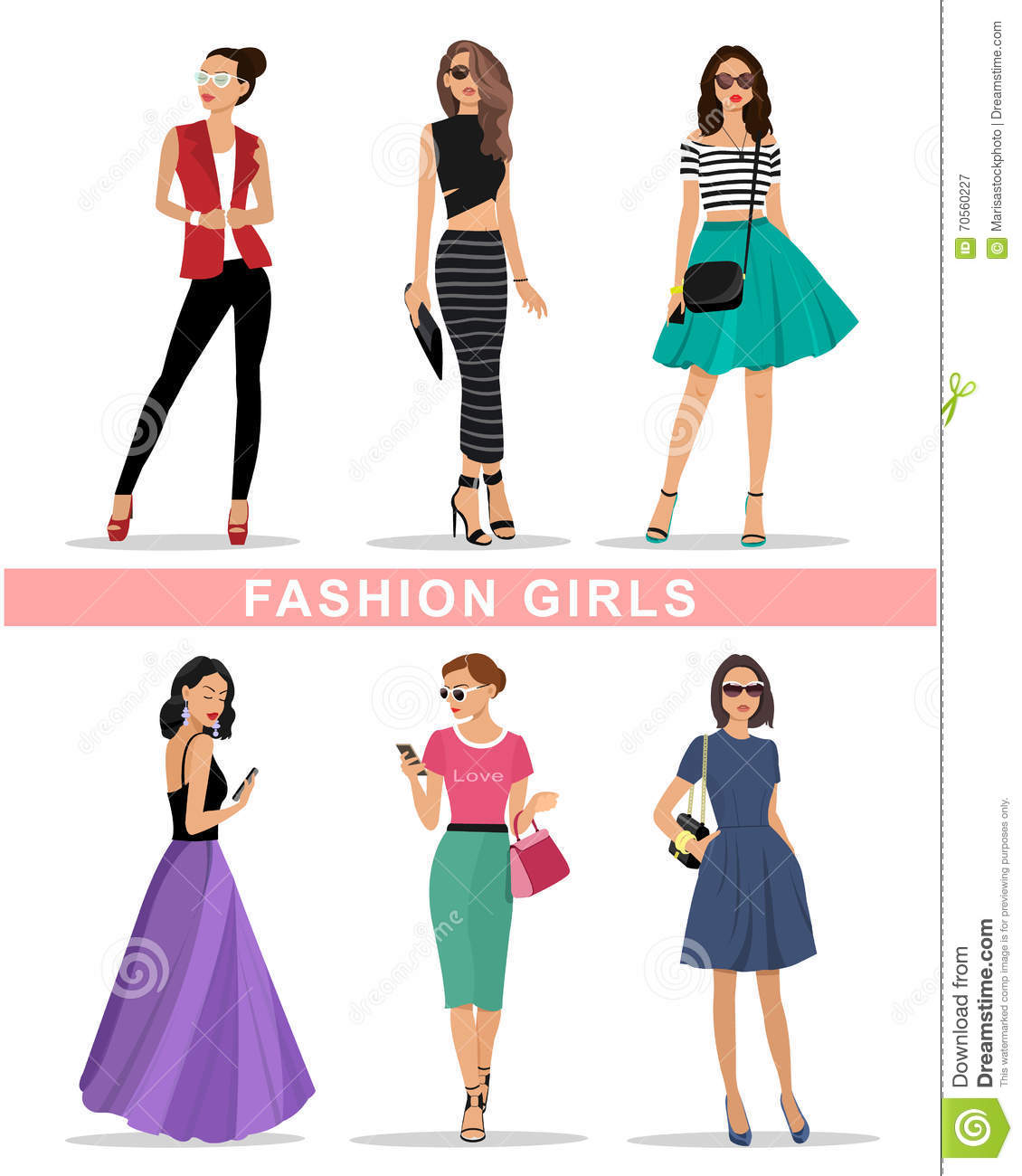Beautiful Fashion Girls Set Fashion Women 39 S Clothes Colorful Vector Illustration Stock Vector