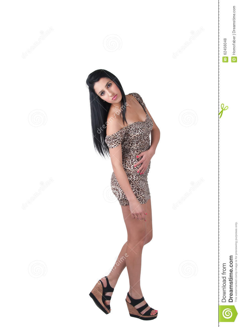 Beautiful fashion model with long brunette hair wear animal print dress and black  wedge sandals. Isolated white background full length body shoot b954662b2