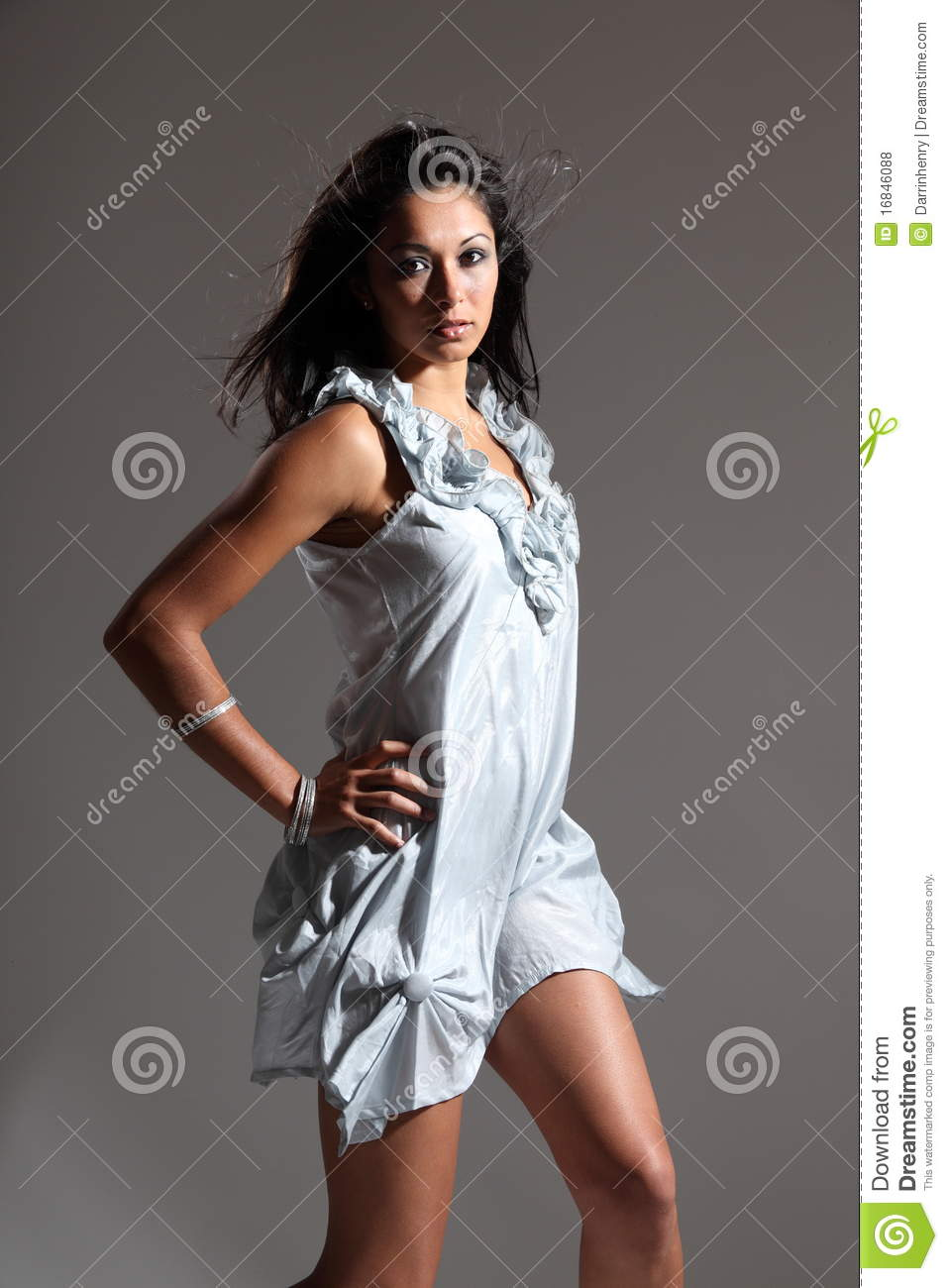 Beautiful Fashion Model In Light Blue Short Dress Royalty