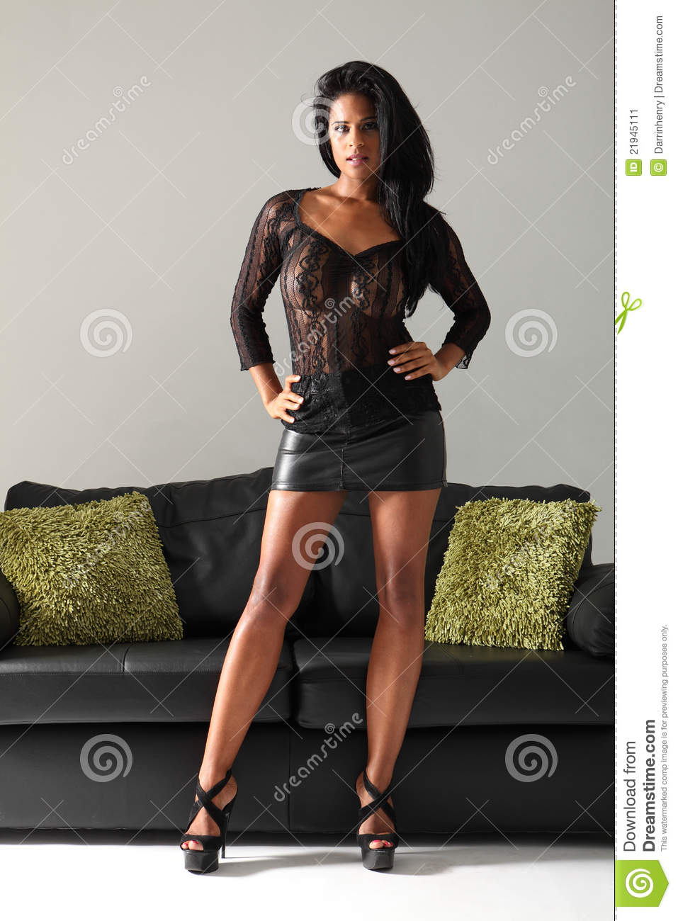 Beautiful Fashion Model In Short Leather Skirt Stock Image - Image ...