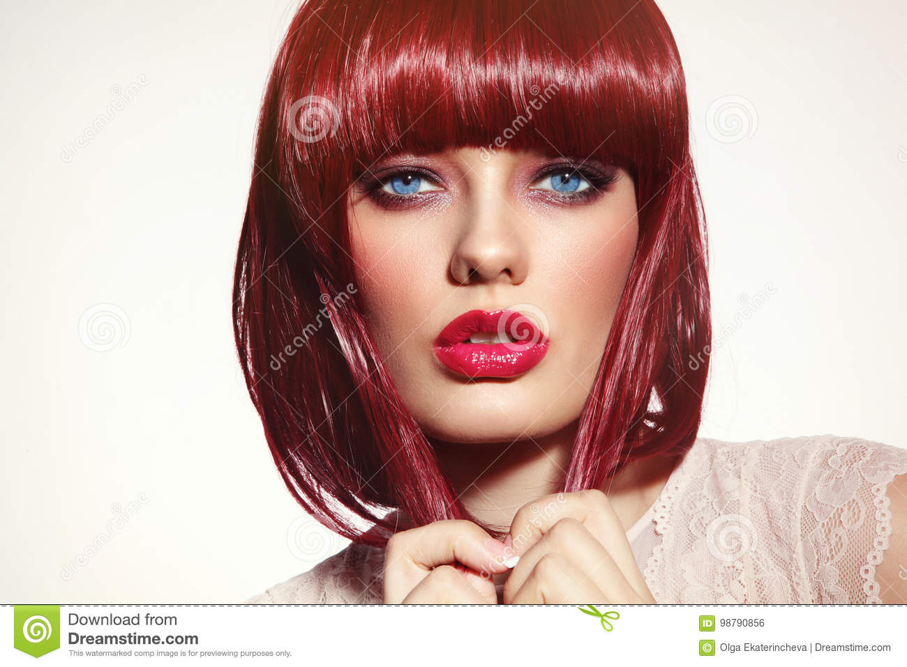 Beautiful Fashion Redhead Girl With Bob Haircut And Stylish Make