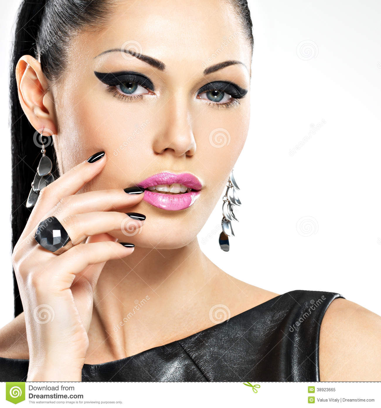 Beautiful Fashion Woman With Black Nails Stock Image -7376