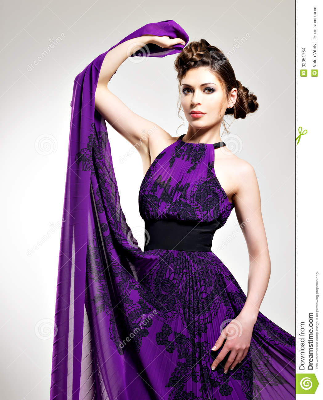 Beautiful Fashion Woman In Purple Long Dress Stock Photo