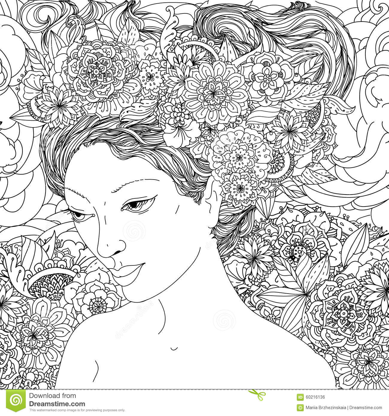 Beautiful fashion women stock vector illustration of Coloring book hair
