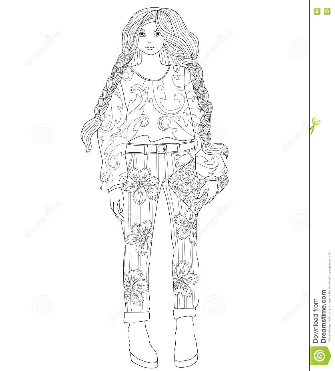 Beautiful Fashionable Girl Coloring Page For Adults Stock Vector Illustration Of Adults Clutch 76827430