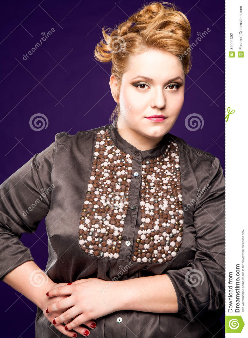 Beautiful Fat Girl With Honey Colored Hair On A Black Background