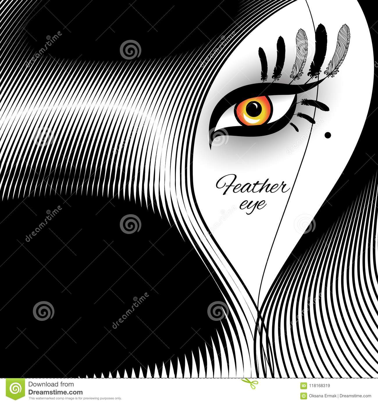 Feather Eye For Exotic Design Stock Vector Illustration Of Blue