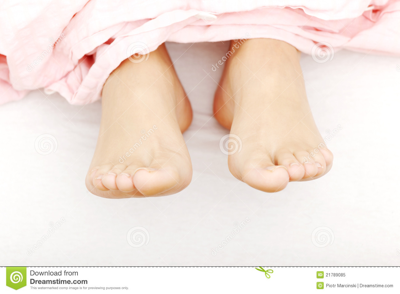 Beautiful Feet In Bed Royalty Free Stock Photo - Image: 21789085