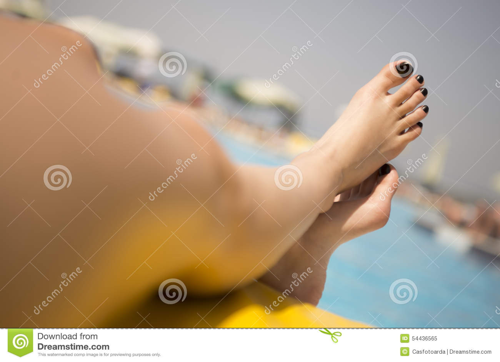 Sexy feet with black nail polish