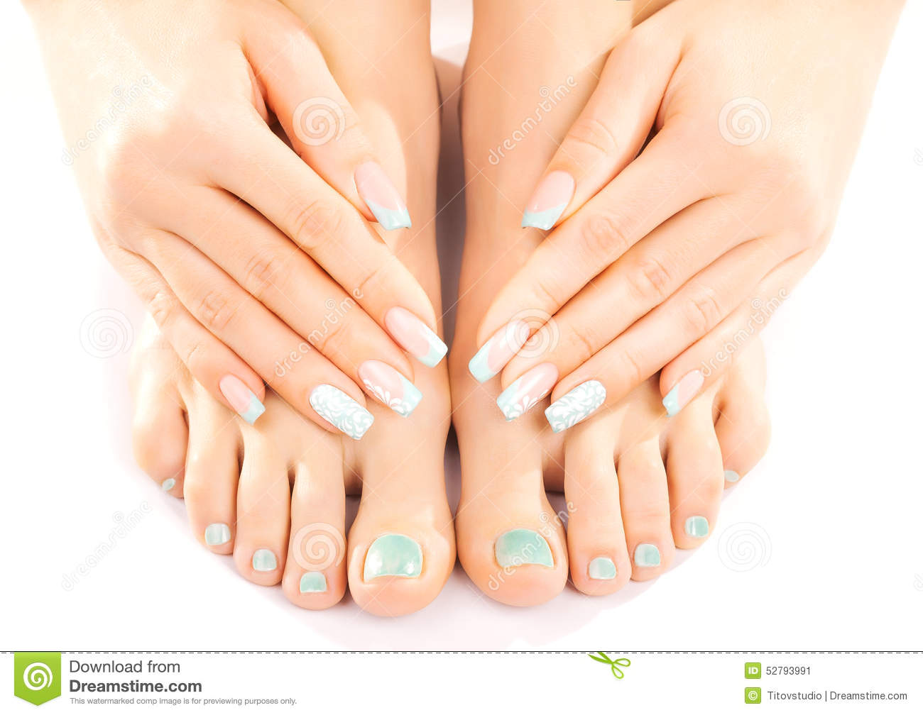 Beautiful Feet With Turquoise Pedicure Isolated Stock ...
