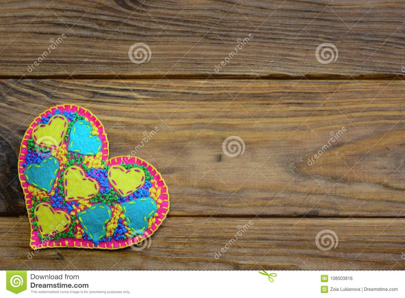 Beautiful felt heart decoration for valentines day applique heart