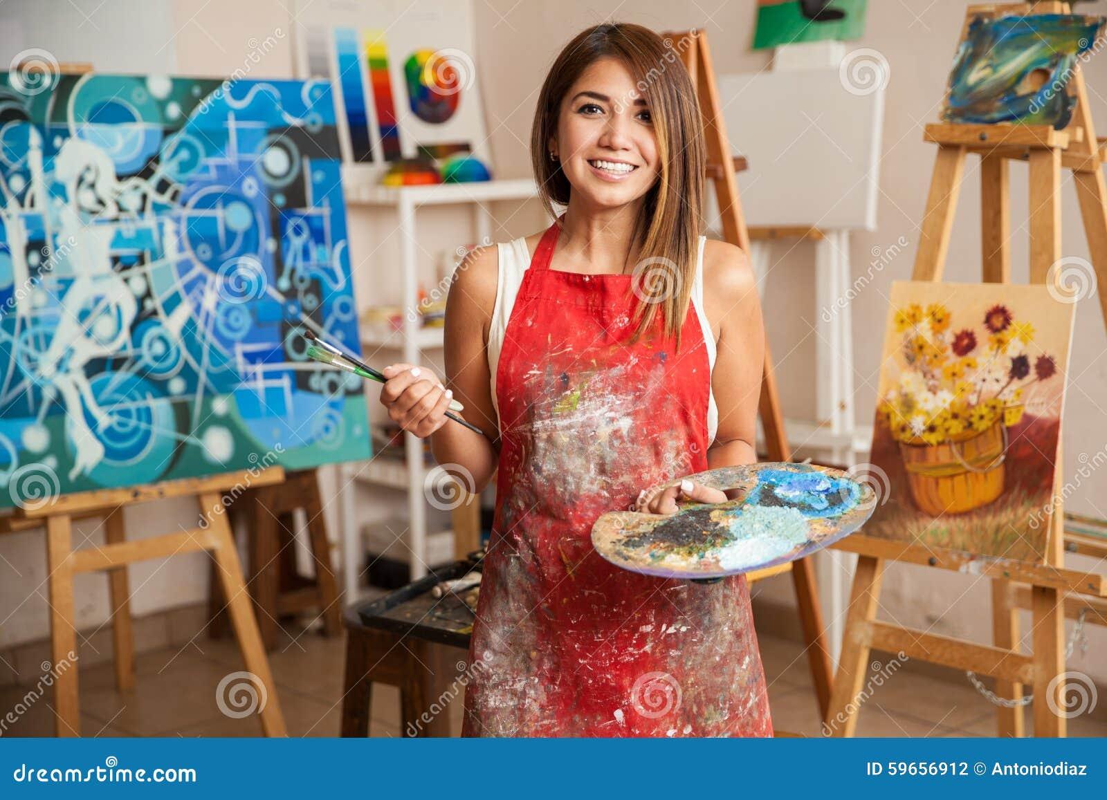 Beautiful female artist in her studio stock photo image for A beautiful you at vesuvio salon studios