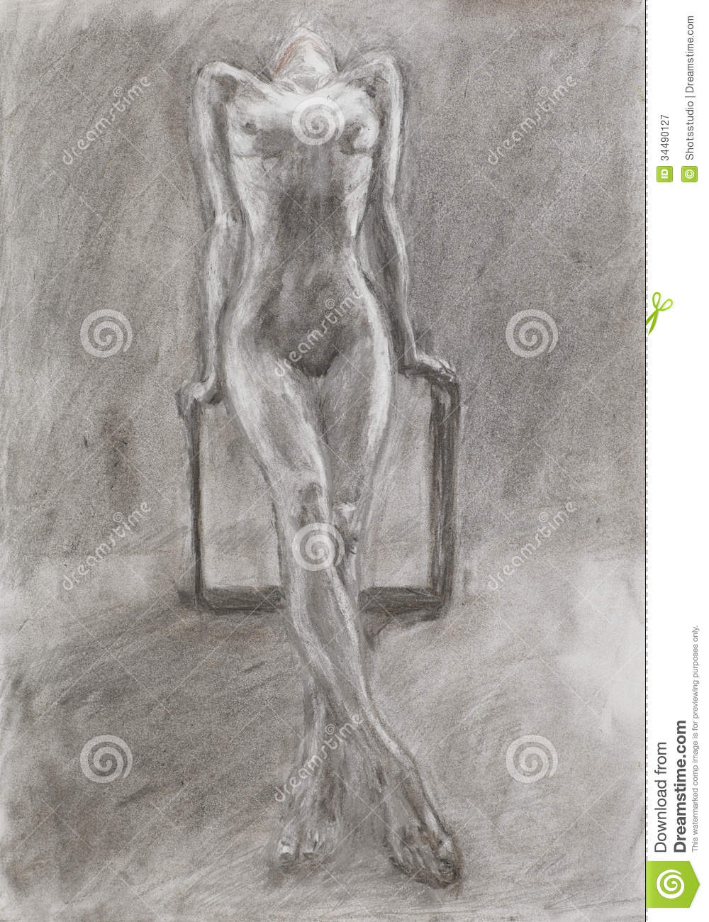 Hand drawn pencil drawing of beautiful unrecognizable naked woman