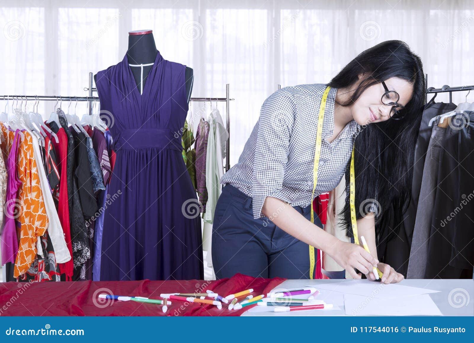 Beautiful Female Designer Drawing New Dress Stock Photo Image Of Designing Draw 117544016