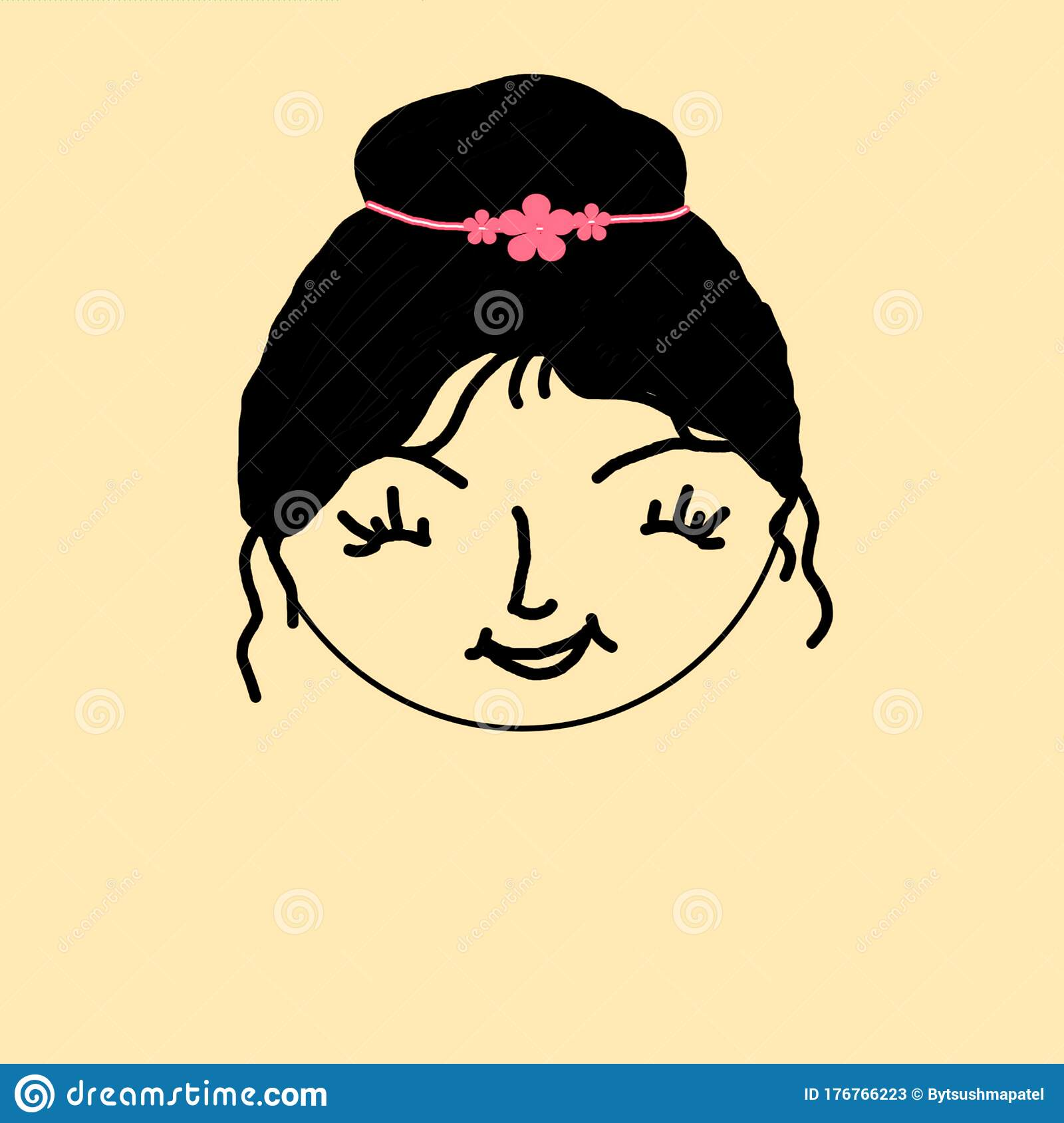 Beautiful Female Face Happy Face Easy Drawing Stock Illustration Illustration Of Simple Women 176766223
