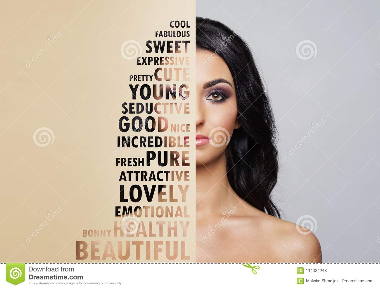 Beautiful face of young and healthy woman. Plastic surgery, skin care, cosmetics and face lifting concept.