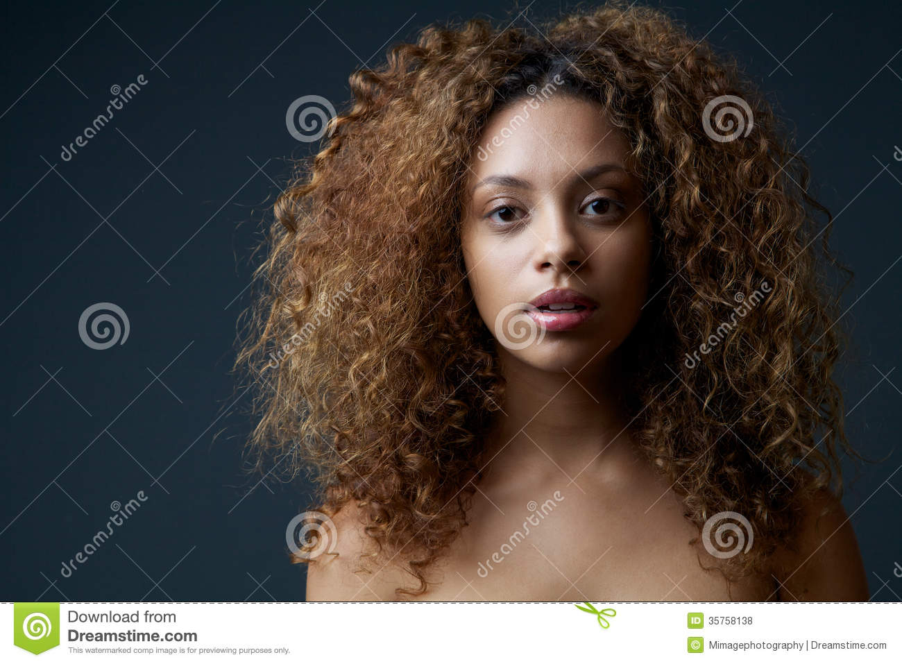 Beautiful Female Fashion Model With Curly Hair Stock Photo ...