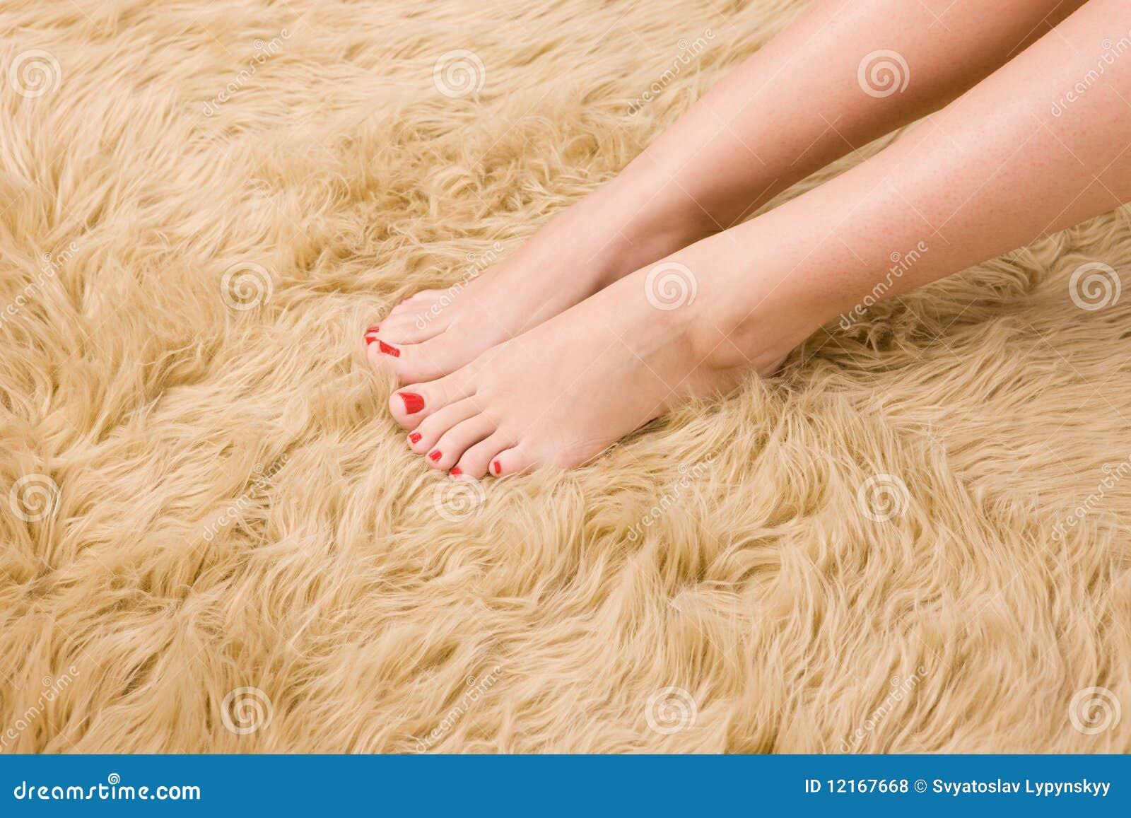 Beautiful Female Feet On Wool Carpet Royalty Free Stock Photos - Image ...