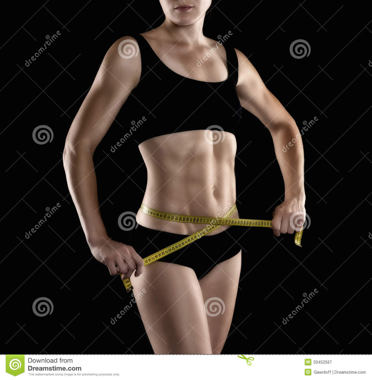 Beautiful Female Fitness Models Stomach, Torso And Abdominal Muscles ...