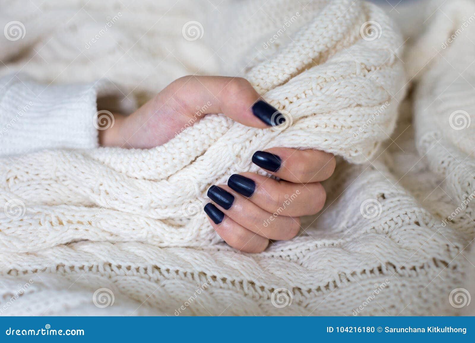 Beautiful Female Hand With Dark Blue Nail Polish Design Stock Photo
