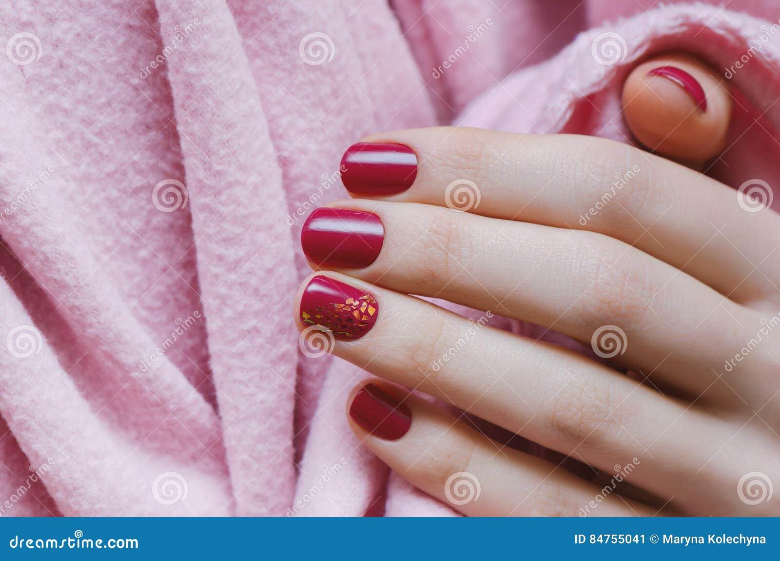 Beautiful Female Hand With Dark Pink Nail Design. Stock Image ...
