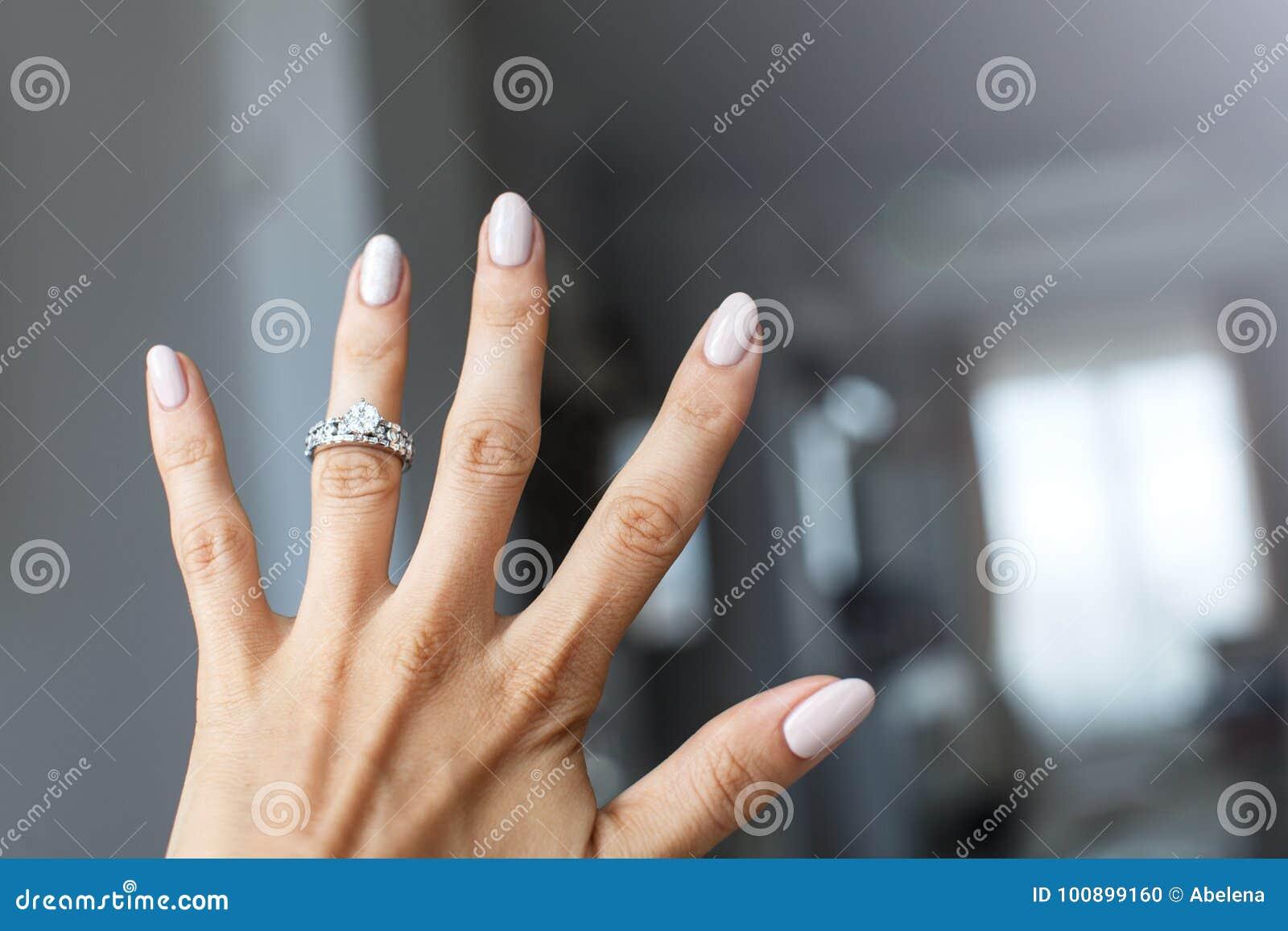 Which Hand Wedding Ring Female.Beautiful Female Hand With Elegant Diamond Ring Stock Photo Image