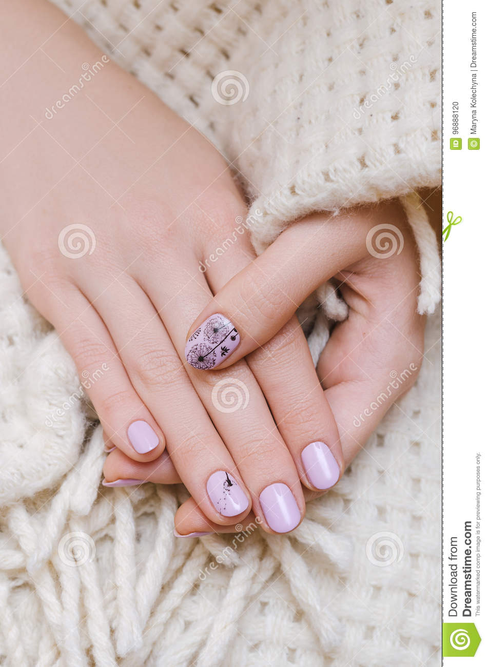 Beautiful Female Hand With Light Purple Nail Design Stock Photo ...