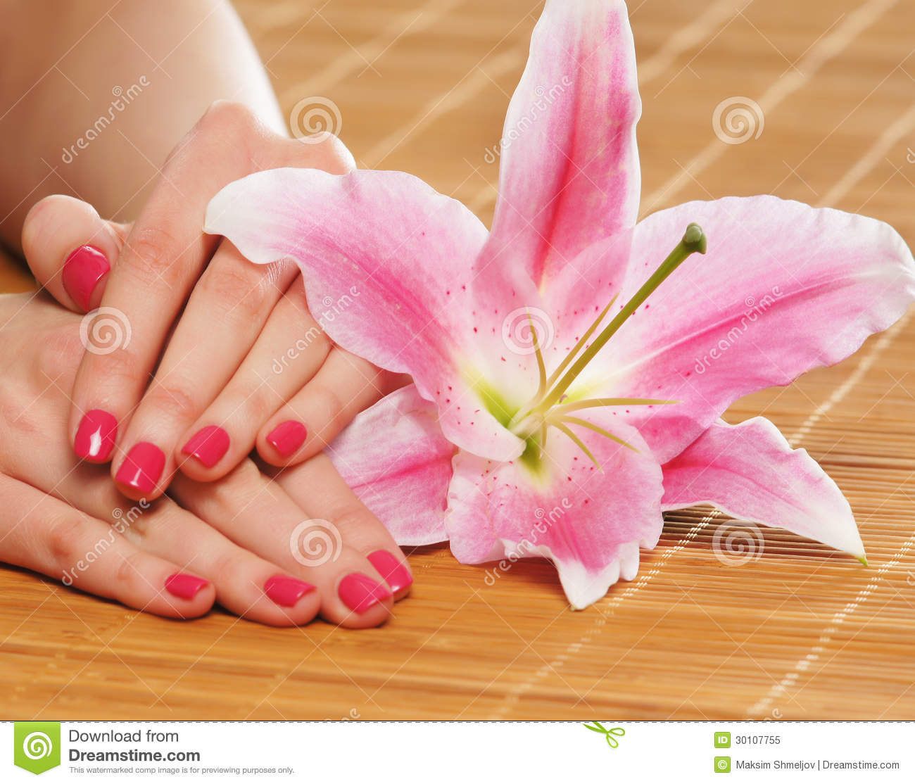 Beautiful Female Hands With Polished Nails And A Flower Stock Image Image 30107755