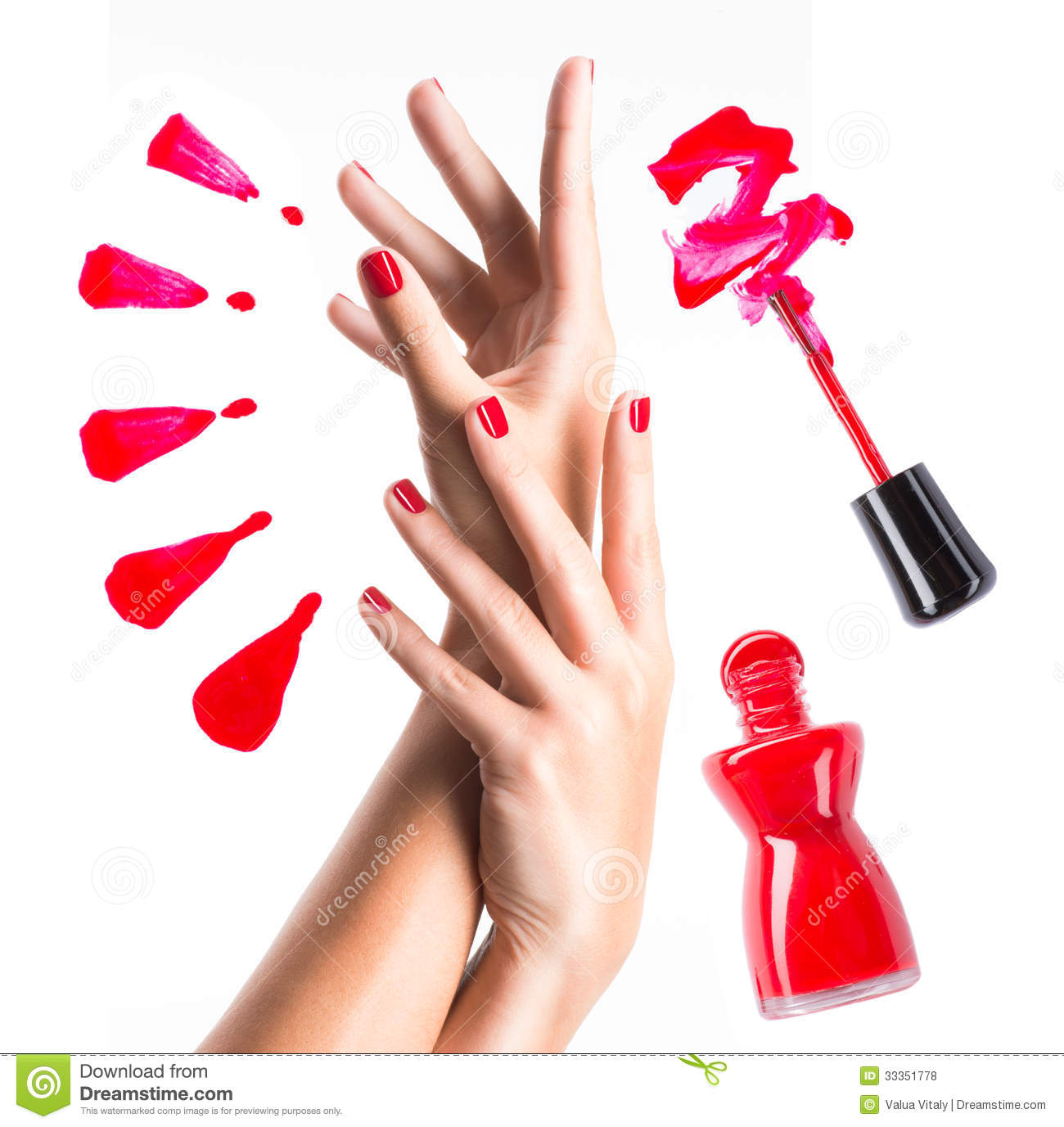 Beautiful Female Hands With Red Manicure Stock Photo Image Of Manicure Varnish 33351778