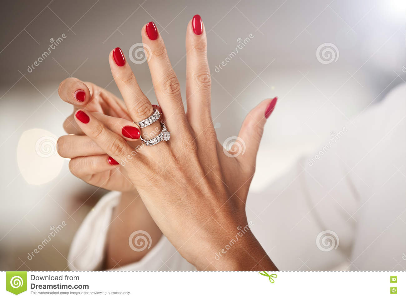 Beautiful Female Hands With Red Nails Stock Image - Image of ...