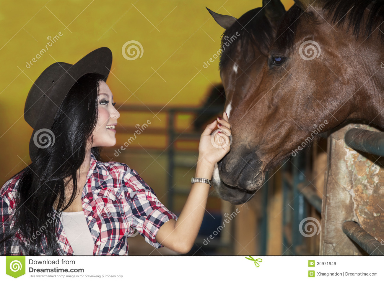 Beautiful Female Horse Rider In Ranch Royalty Free Stock