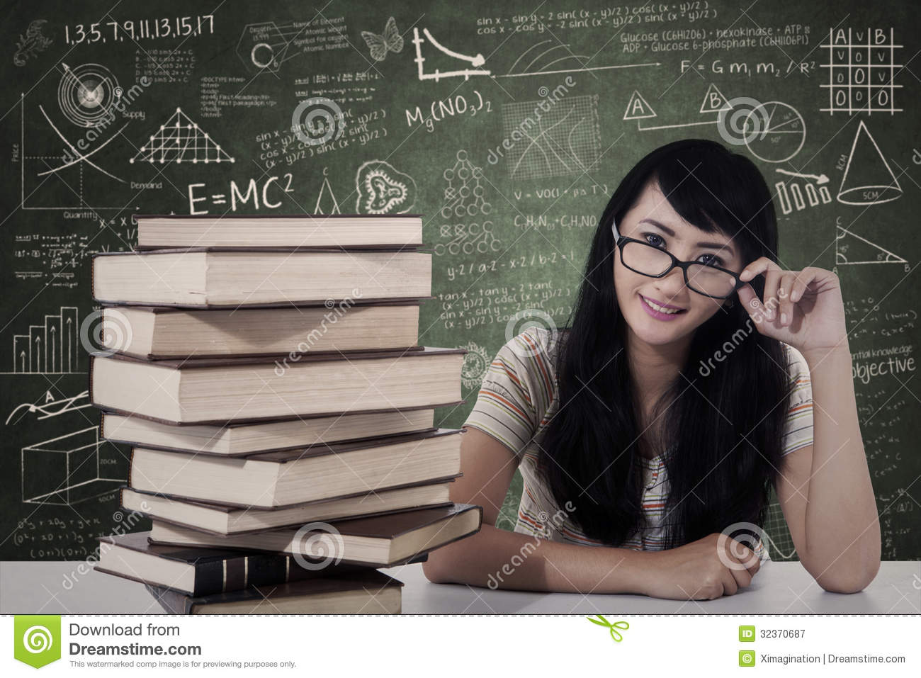 Royalty Free Stock Photography: Beautiful female nerd student study in ...