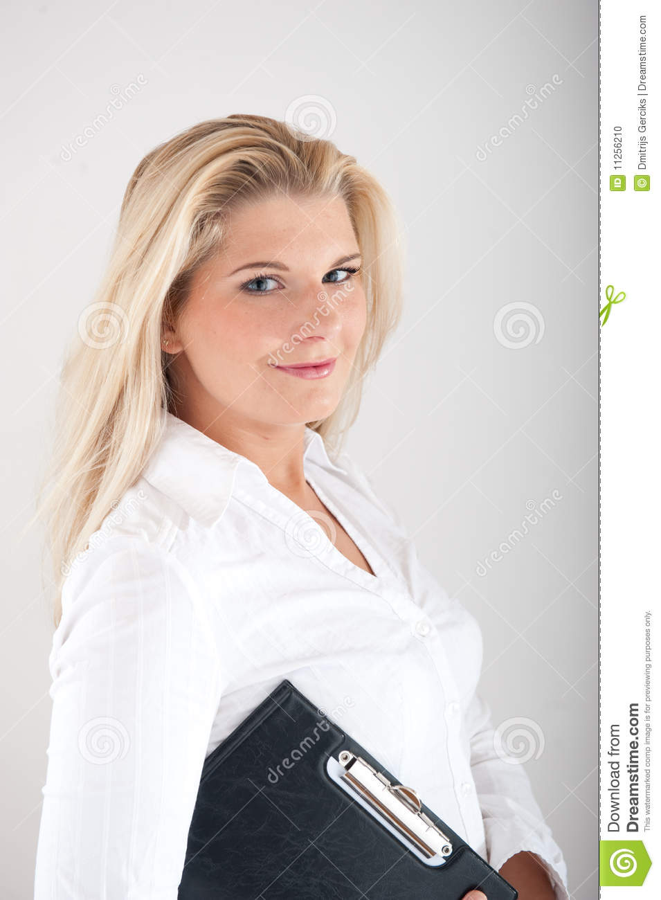 Beautiful female office worker with a folder stock photo for Beautiful office pictures