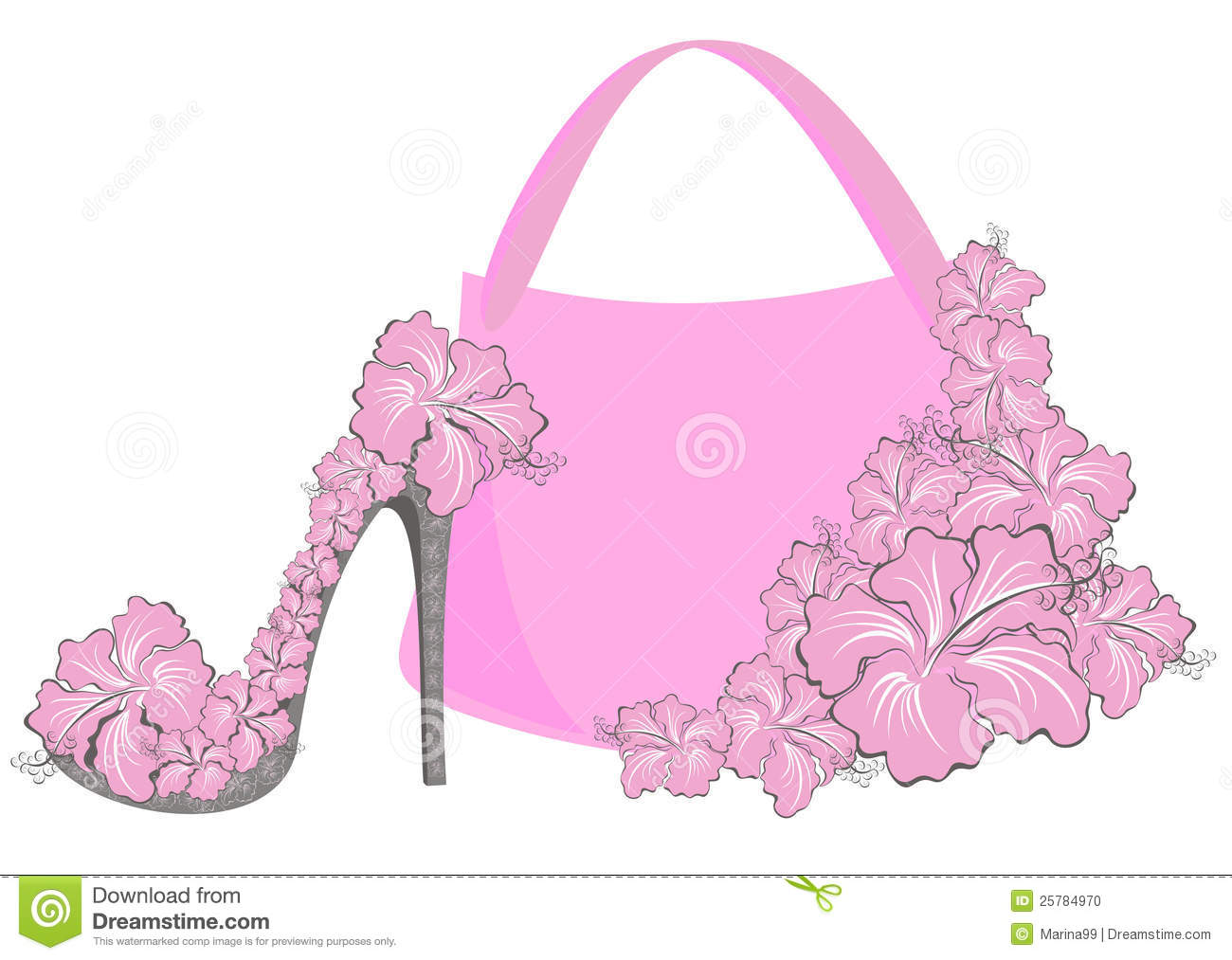 Beautiful Female Shoes And Bags Stock Vector ...