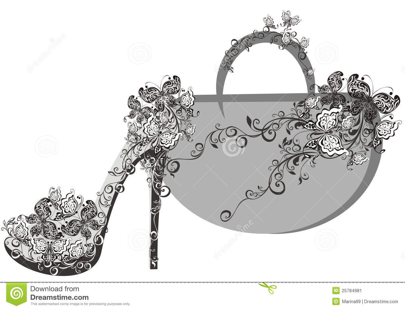 Beautiful Female Shoes And Bags Stock Vector Illustration Of
