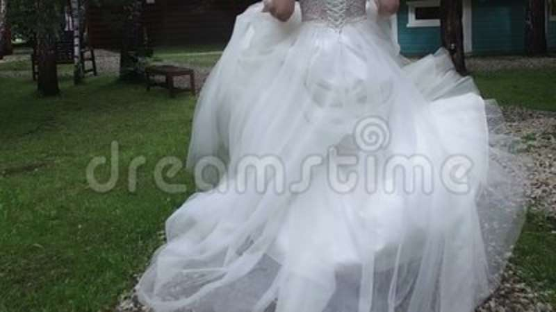 Beautiful Female Spinning Bride Dress Slow Motion Forest Nature ...