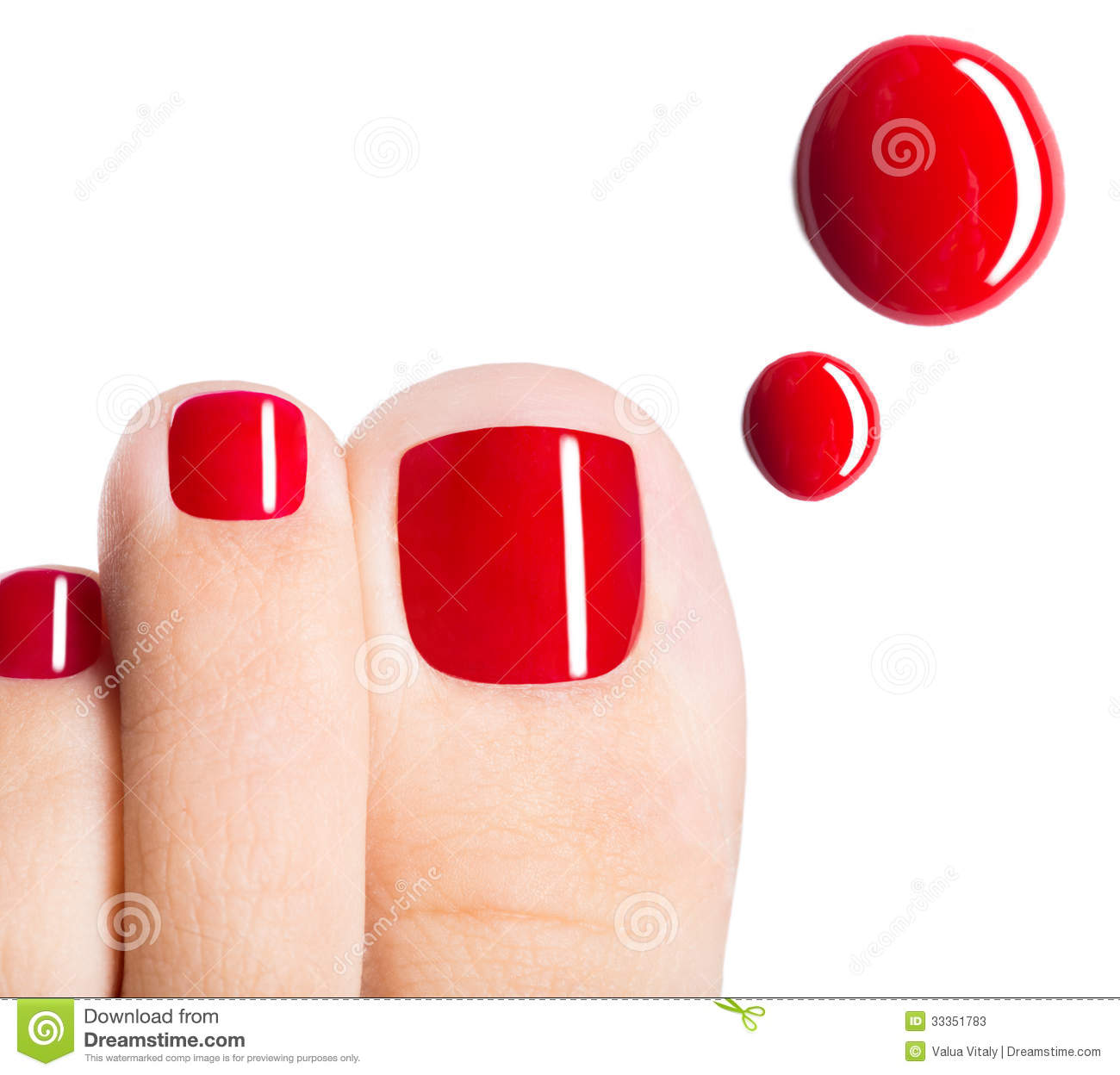 Red Nail Polish Toes: Beautiful Female Toes With Red Pedicure And Drops Of Nail