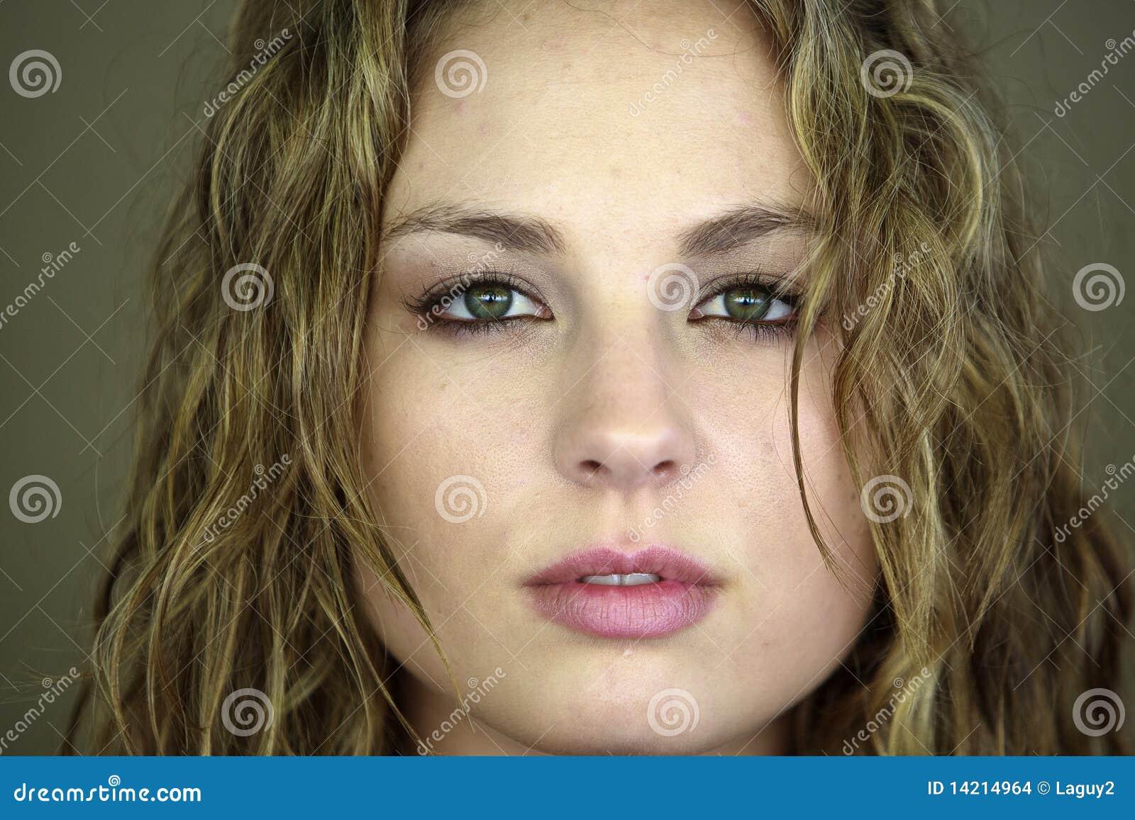 Beautiful female white model Head Shot eyes